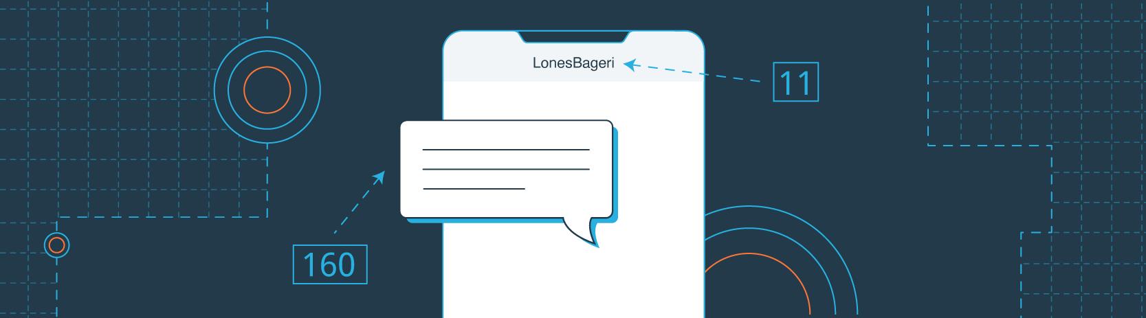 Hvor mange tegn må en SMS-besked og et afsendernavn indeholde?